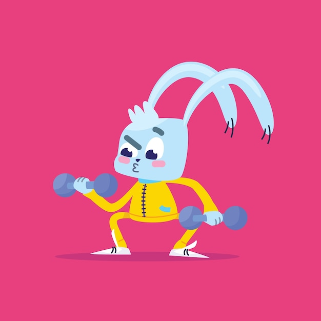 Il coniglio va a fare sport. Vettore Premium
