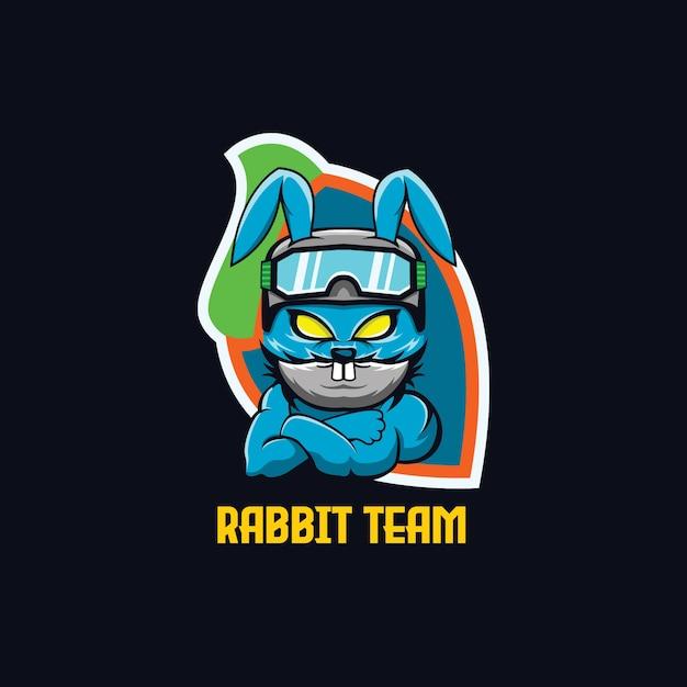 Squadra di gioco di esports mascotte di coniglio Vettore Premium