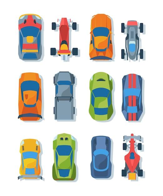 Set di illustrazioni piatte vista dall'alto di auto da corsa. luminose automobili da corsa. trasporto sportivo moderno. Vettore Premium