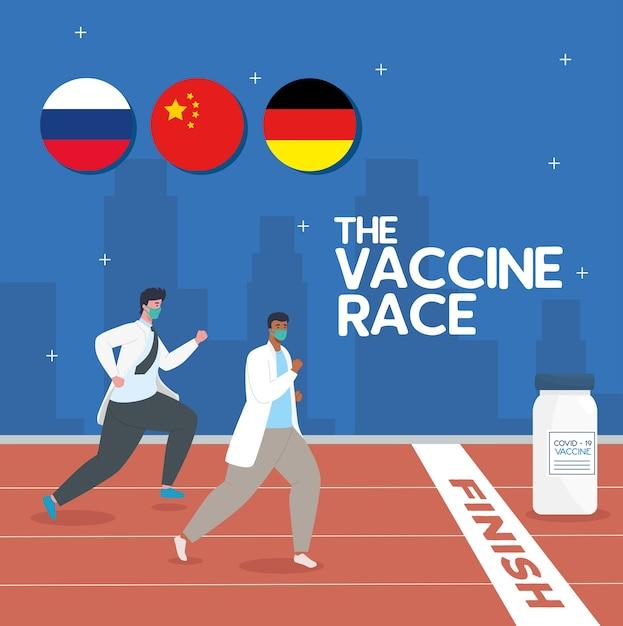 La corsa tra paesi, per lo sviluppo del vaccino contro il coronavirus covid 19, i medici che corrono, per la fiala e le bandiere dei paesi concorrenti Vettore Premium