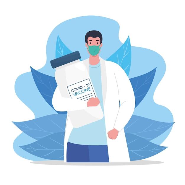 La gara tra paesi, per lo sviluppo del vaccino contro il coronavirus covid19, medico che indossa una maschera medica con illustrazione della fiala Vettore Premium