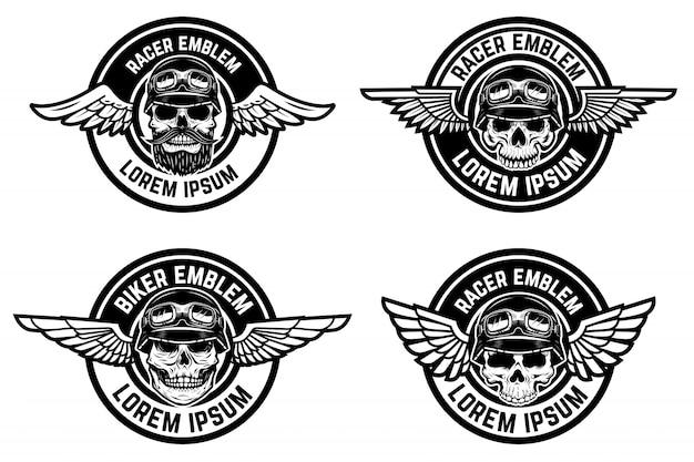 Emblemi del corridore. set di emblemi alati con teschi. elementi per biker club, logo comunità racer, etichetta, segno. illustrazione Vettore Premium