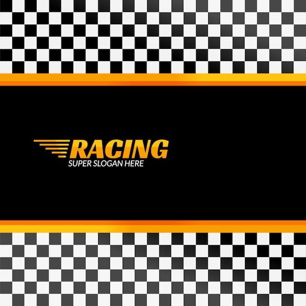 Sfondo di corse con bandiera da corsa, banner di design sportivo o poster. Vettore Premium