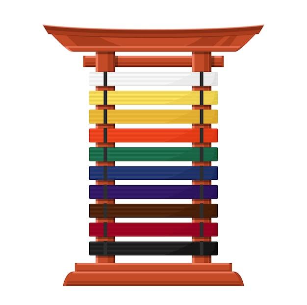 Rastrelliera per cinture da karate supporto in legno in stile asiatico con traverse multicolori. Vettore Premium