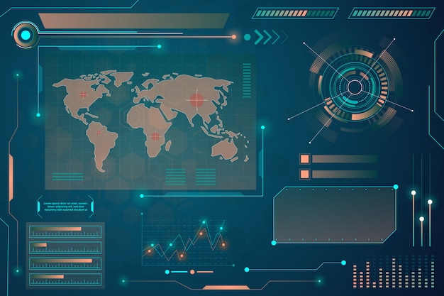 Schermata radar. sfondo tecnologico. hud. Vettore Premium