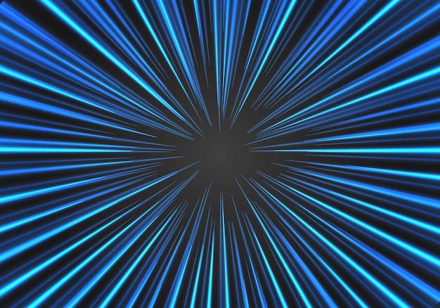 Linea blu radiale di velocità dello zoom sul fondo nero dell'illustrazione di vettore Vettore Premium