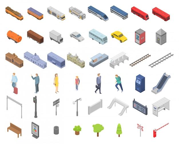 Set di icone della stazione ferroviaria, in stile isometrico Vettore Premium