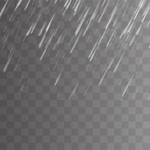 Tempesta di pioggia e sfondo trasparente nuvole bianche. Vettore Premium