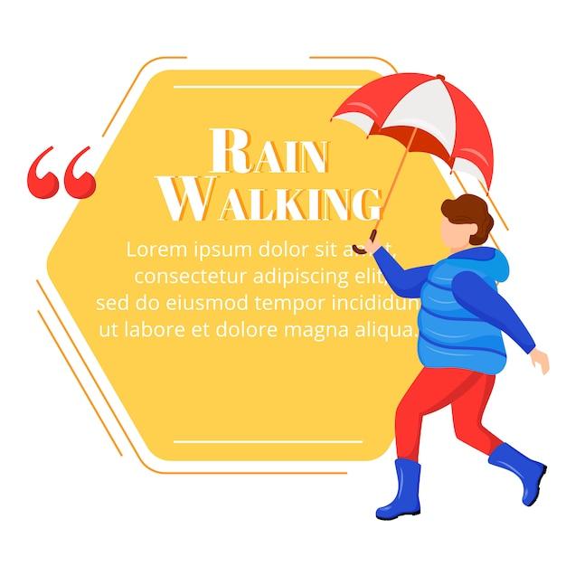 Citazione del personaggio di colore a piedi pioggia. bambino in stivali di gomma. capretto con ombrello. tempo umido. ragazzo in cappotto. modello di cornice vuota di citazione. fumetto. citazione casella di testo vuota Vettore Premium
