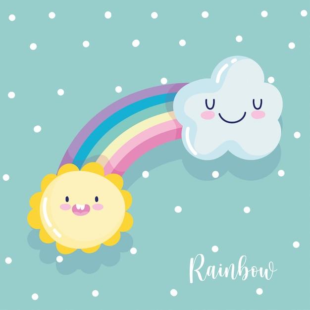 Rainbow cloud sun fantasy cartoon decorazione puntini sfondo illustrazione vettoriale Vettore Premium