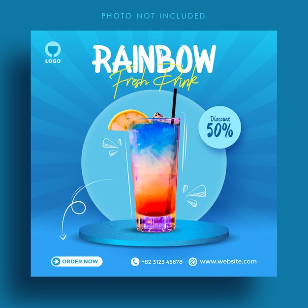 Rainbow fresh drink vendita social media post pubblicità banner modello Vettore Premium