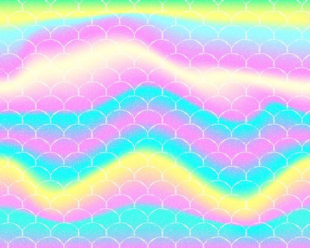Sfondo sirena arcobaleno. modello olografico. spina di pesce. Vettore Premium