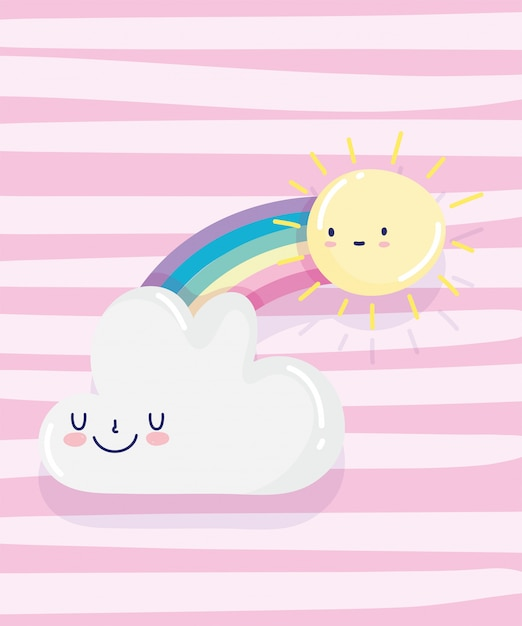 Rainbow sun cloud decorazione del fumetto strisce rosa sfondo illustrazione vettoriale Vettore Premium