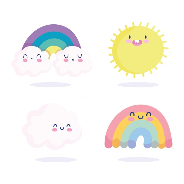 Arcobaleni nuvole sole primavera stagione natura fumetto decorazione illustrazione vettoriale Vettore Premium