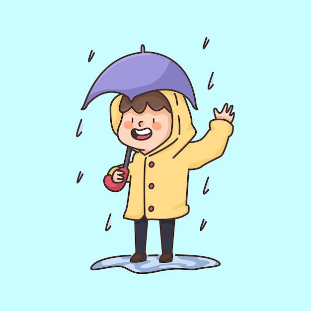 Piove ragazzo che indossa un cappotto carino fumetto illustrazione Vettore Premium