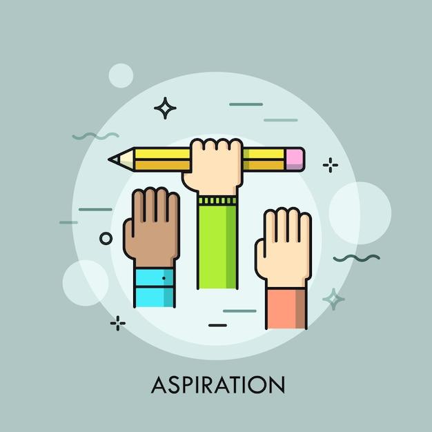 Mani umane alzate. concetto di aspirazione, ambizione del raggiungimento dell'obiettivo, intenzione, sforzo. Vettore Premium