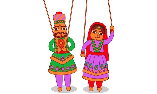 Burattino del rajasthan arte indiana Vettore Premium