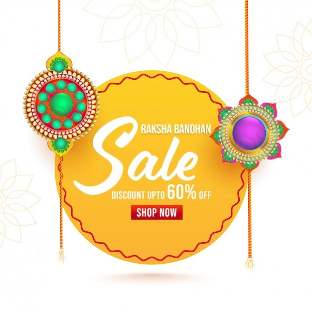 Per poster di vendita raksha bandhan con rakhis decorativi (braccialetti). Vettore Premium