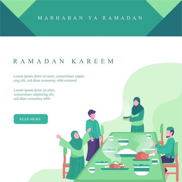 Illustrazione di ramadan per instagram post. la famiglia musulmana mangia insieme all'illustrazione iftar di concetto di tempo. attività familiari in ramadan Vettore Premium