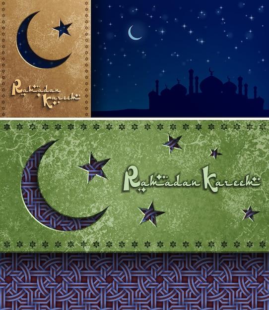 Modello di biglietto di auguri di ramadan kareem Vettore Premium