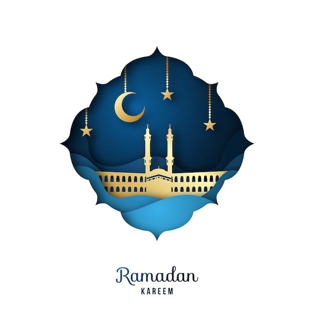 Ramadan kareem biglietto di auguri con moschea dorata. Vettore Premium