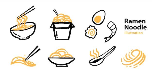 Set di icone di ramen per mascotte Vettore Premium