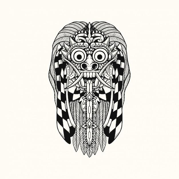 Illustrazione di progettazione della maglietta di rangda barong bali indonesia Vettore Premium