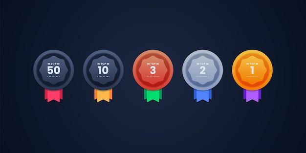 Illustrazione di progettazione di icone di rango Vettore Premium
