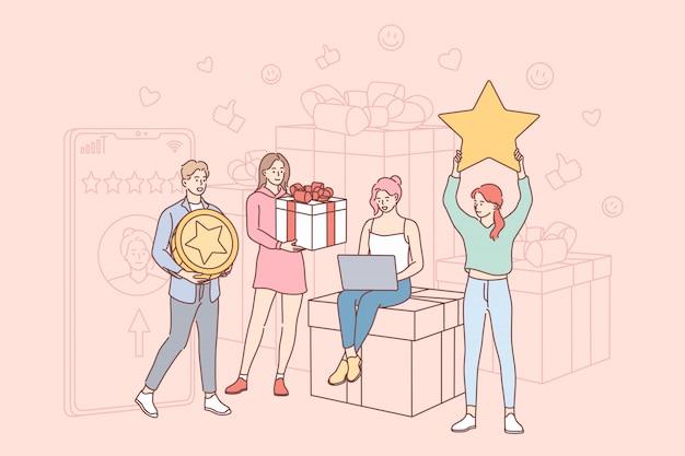 Valutazione, regalo, feedback, shopping, marketing, online, concetto di e-commerce Vettore Premium