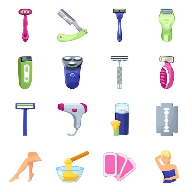 Elementi del fumetto del rasoio rasoio per elementi set gamba femminile. rasoio di illustrazione e rasoio per le donne. Vettore Premium