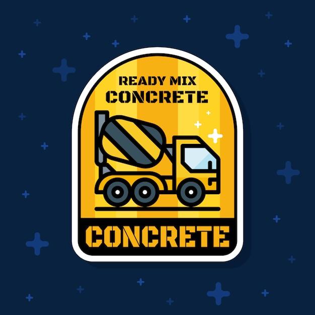 Insegna pronta del distintivo del camion del caricatore del calcestruzzo della miscela Vettore Premium