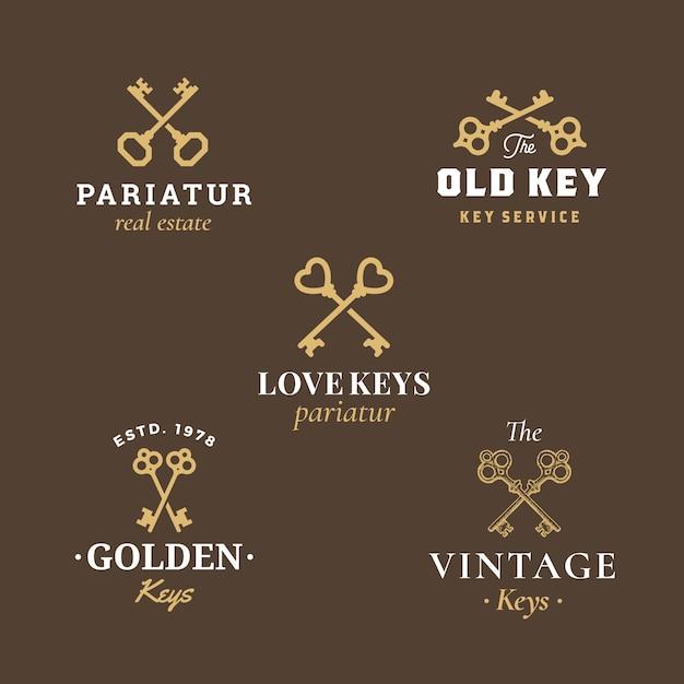 Segni, simboli o simboli di logo di vettore dell'estratto di bene immobile messi con la raccolta differente degli emblemi di chiavi attraversate. Vettore Premium