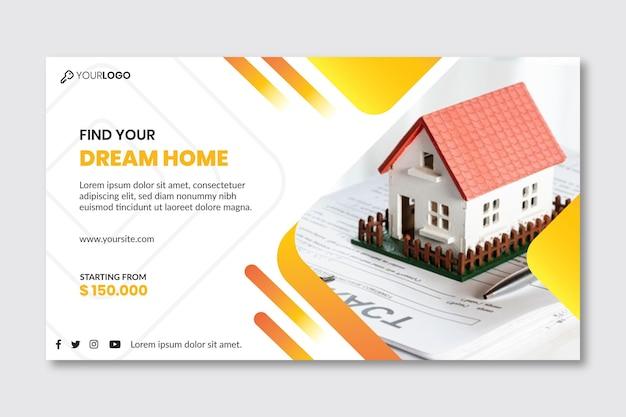Modello di banner immobiliare Vettore Premium