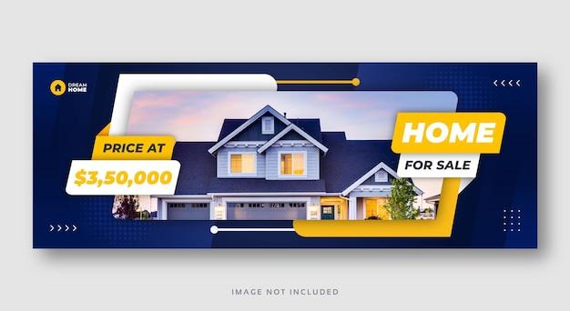 Modello di copertina di facebook banner vendita casa immobiliare Vettore Premium
