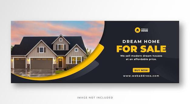 Banner web copertina facebook di vendita immobiliare casa Vettore Premium