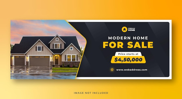 Banner web di copertura dei social media di vendita della casa immobiliare Vettore Premium