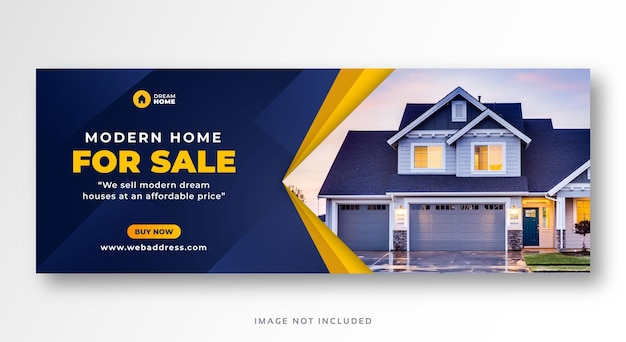 Banner web di copertina di facebook di social media di vendita di immobili domestici Vettore Premium