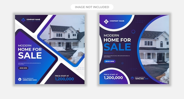 Banner web di vendita casa immobiliare o modello di post sui social media Vettore Premium
