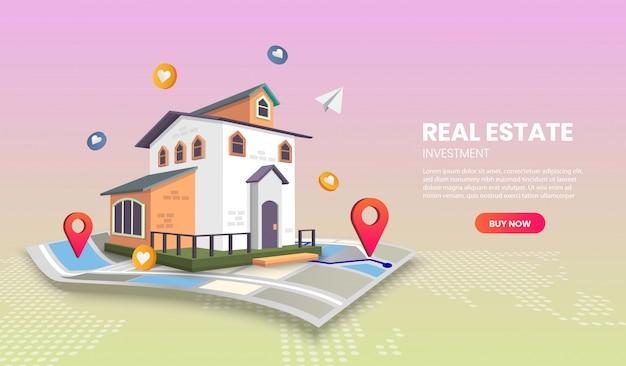 Pagina di app per modelli di landing page immobiliari. per banner web, infografiche, immagini di eroi. immagine dell'eroe per il sito web. Vettore Premium