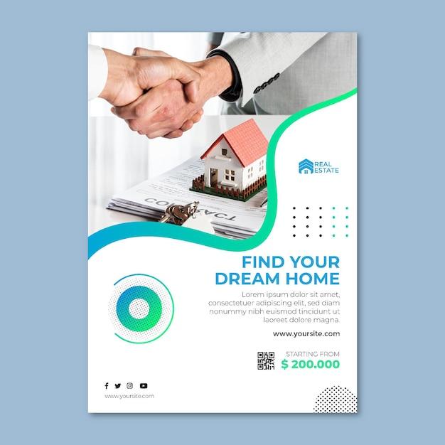 Modello di poster immobiliare Vettore Premium