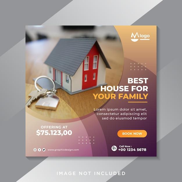 Banner di social media di vendita immobiliare o modello di volantino quadrato Vettore Premium