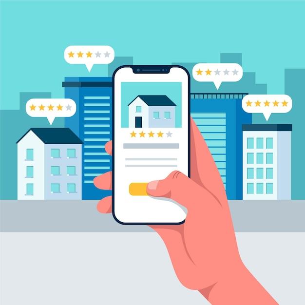 Illustrazione di ricerca immobiliare Vettore Premium