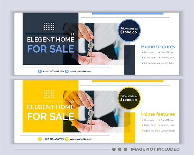 Copertura dei social media immobiliari, modello di intestazione banner web Vettore Premium