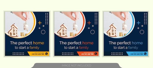 Modello di post instagram social media immobiliare Vettore Premium