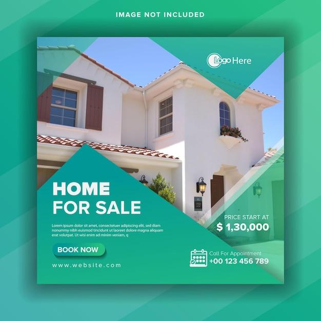 Post di social media immobiliare o volantino quadrato Vettore Premium
