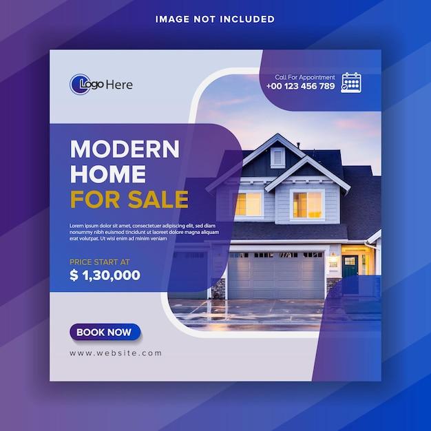 Modello di post sui social media immobiliari o banner web quadrato Vettore Premium