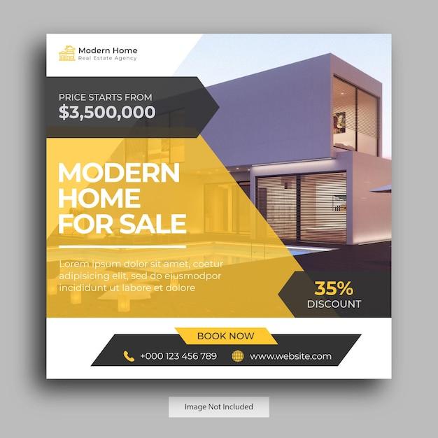 Modello di post sui social media immobiliari Vettore Premium