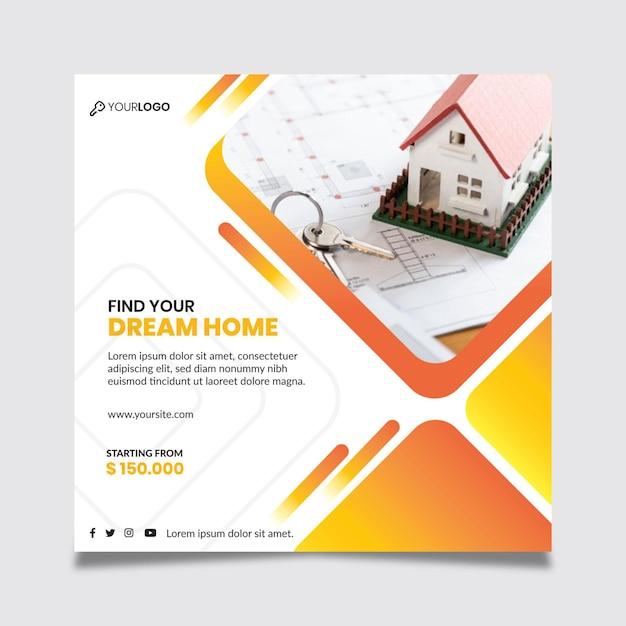 Modello di volantino quadrato immobiliare Vettore Premium