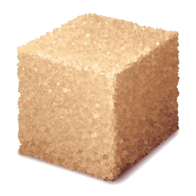 Cubo di zucchero di canna 3d realistico isolato su priorità bassa bianca Vettore Premium