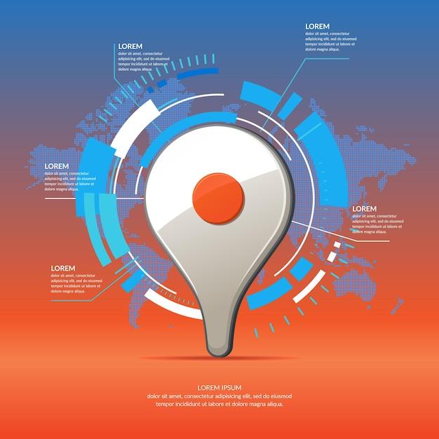 Puntatore della mappa icona 3d realistico. infographics di affari e grafico con mappa del mondo sullo sfondo. Vettore Premium